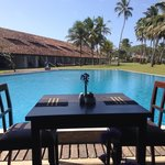 Table beside the swimming pool