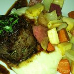 beef tenderloin with roasted root veggies and mashed potatoes