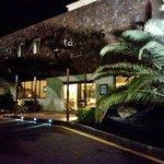 Hotel entrance at night