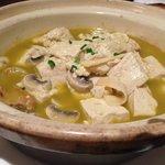 Soup: Mushroom, tofu and mussels
