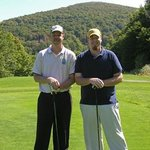 Kevin and friend golfing at a great area course