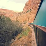The red rock cliffs are amazing to see