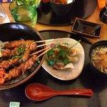 Donburi, gyoza and miso soup at Naruto