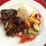 Teriyaki Steak with Fruit & Cucumber Salad.