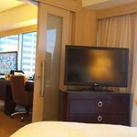 View from relaxing in the bed into the adjoining room of the corner suite