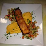 Seared Salmon sweet potato purée&- roasted vegetables