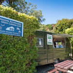Green Caravan Cafe at the end of the Queen Charlotte Track, Anakiwa