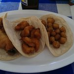 Fish, shrimp and scallop tacos, before you get to dress them up.