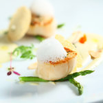 "Pan Seared Hokkaido Scallops with Spanish Mallorca Style ""Sobrasada"" Chorizo Emulsion"