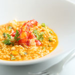 "Spanish Saffron ""Bomba""Broth Rice with Red Prawn and Calamari"