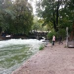 Surfing on the river Munich Eisbach