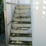 The slippery staircase to the rooftop sala