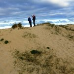 viewing the ocean from top of the sand dunes