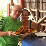 With the lobster :)