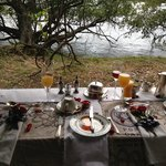 Special Breakfast Area on the banks of the Zambezi for our engagement they arranged