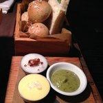Bread basket, Olive oil, Rillette, Seaweed Tapenade