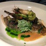 Roasted Turbot on the Bone, Saffron Mash, Crab Salad, Salsa verde