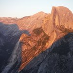 View from Glacier Point to Half Dome at sunset.