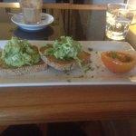 avocado nd goats cheese on seedy toast