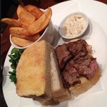 Fillet steak and onion sandwich, thick cut chips