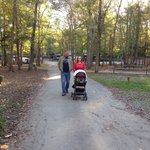 Hubby walking with our daughter and grandson. You can get in over a mile walk around the campgro