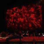 Antes de começar o espetáculo. Sentamos até que próximos ao palco...