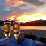 Beautiful wedding sunset in the BVI