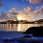 Sunset at Surfsong, luxury villas on the beach in the BVI