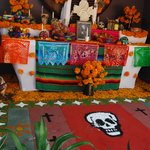 lobby decorated for dia de los muertos