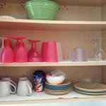 Darling, Festive, Colorful dishes in Unit #5...no touch overlooked!