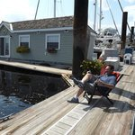 Our favorite thing, lounging on the deck, watching the boats go by