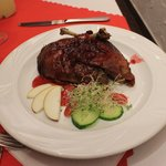 Yummy duck with cranberry sauce...