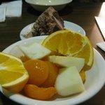 Fruit for dessert plus frozen chocolate cake.