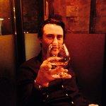 Marco enjoying a rather large brandy