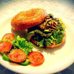 Smoking Turkey Bagel: smoked turkey, lettuce, avocado, homemade basil dressing, pine nuts