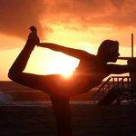 sunset yoga session on beach!