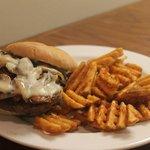 Mushroom Burger with Waffle Fries
