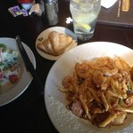 New Orleans pasta with a side salad.