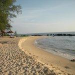 la plage aménagée avec bains de soleil