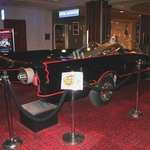 Batmobile displayed in the lobby.