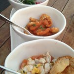 Trio of roasted corn and seabass ceviche, heart of palm and seabean salad, and fried calamari