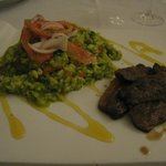 Magret de canard with green risotto