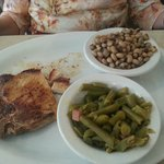 Pork chop with green beans and black eyed peas