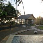 the beachfront eating area