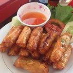 Super crispy chicken spring rolls