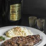 420 gram steak with Bull Run Whiskey