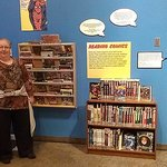 Display of many library books that can be checked out
