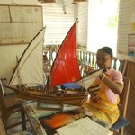 Ladies at the Mahe' Craft Centre making the most stunning ship models