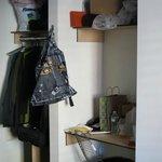 closet, top shelf and desk area
