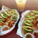 Shrimp tacos and chicken tacos